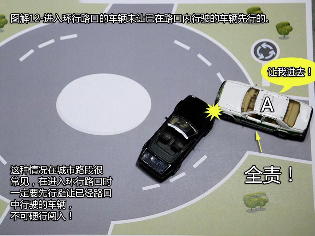 进入环行路口的车未让已在路口内的车先行