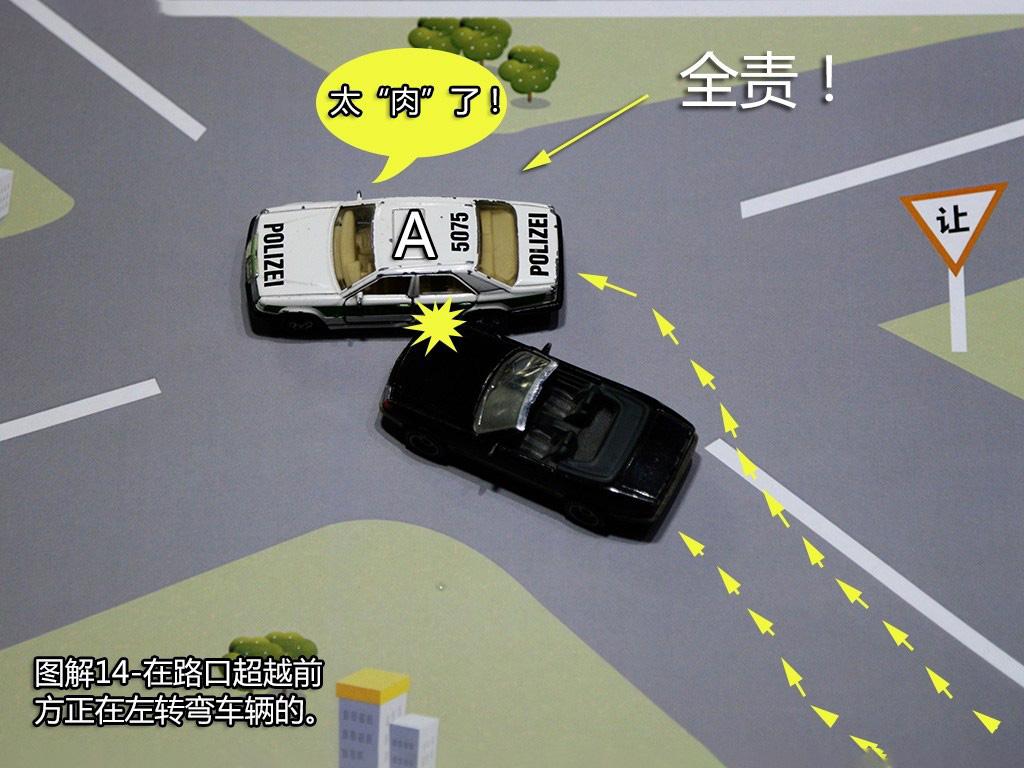 超越前方正在左转弯车的