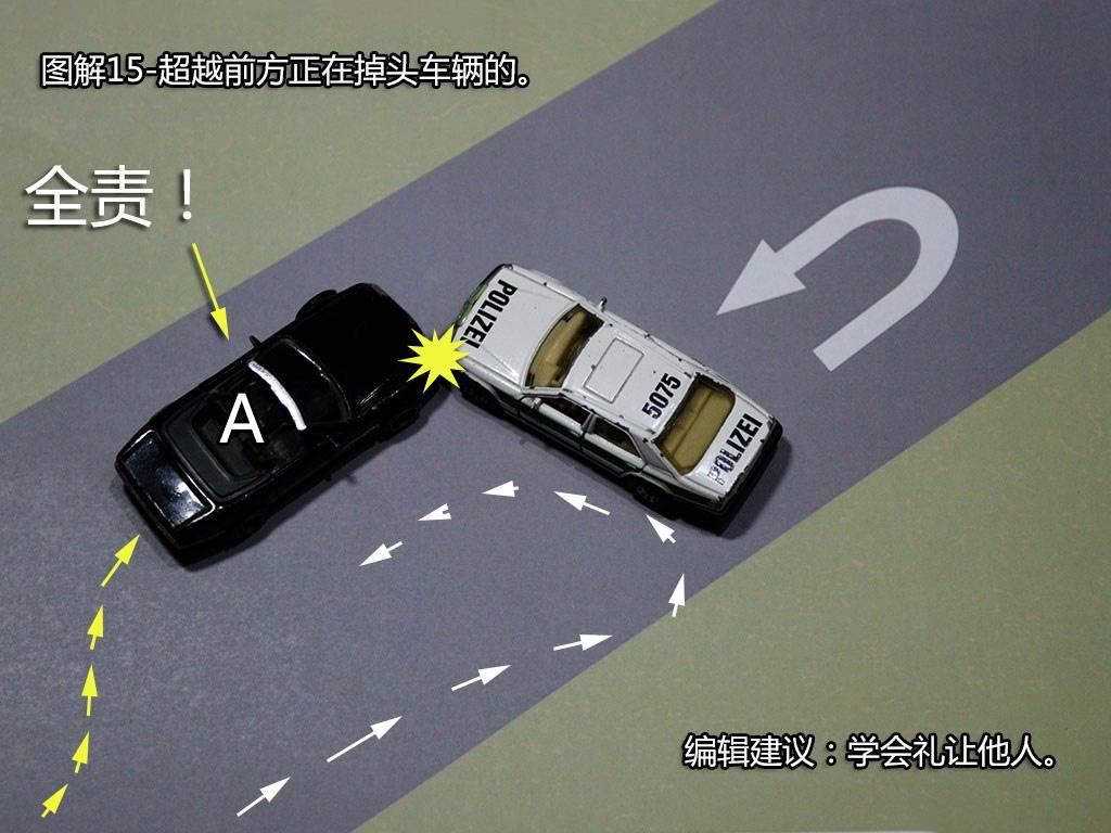 超越前方正在掉头车的